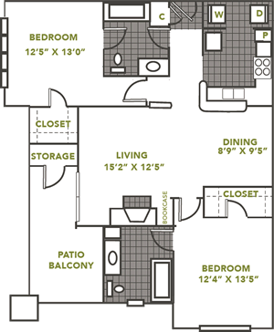 The Ambassador - Two Bedroom / Two Bath - 1,039 Sq. Ft.*