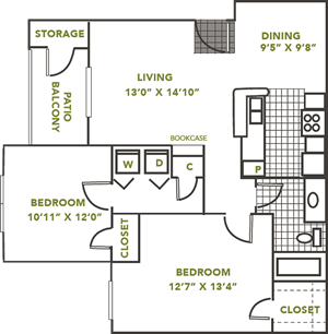 The Brenlin- Two Bedroom / One Bath - 899 Sq. Ft.*
