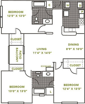 he Downing - Three Bedroom / Two Bath - 1,207 Sq. Ft.*