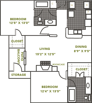 The Fairfax - Two Bedroom / Two Bath - 1,010 Sq. Ft.*